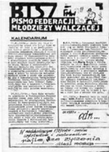 BISZ (Biuletyn Informacyjny Szkół Zawodowych): pismo Federacji Młodzieży Walczącej reg. Gdańsk, nr 15 (I 87)