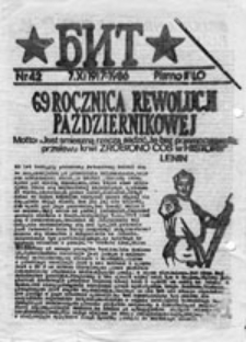 """BIT (Biuletyn Informacyjny """"Topolówka""""), nr 1 (17 IX 1982)"""