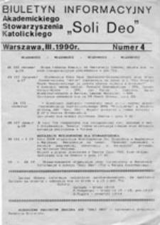 """Biuletyn Informacyjny Akademickiego Stowarzyszenia Katolickiego """"Soli Deo"""", nr 4 (III 1990 r.)"""