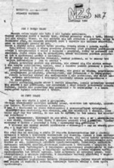 Biuletyn Informacyjny NZS Lublin: wydanie wojenne, nr 7 (listopad 1982)