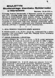 Biuletyn Studenckiego Komitetu Solidarności w Warszawie, nr 1 (12 listopada 1977)