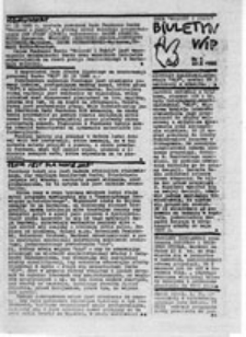 """Biuletyn WiP (Ruch """"Wolność i Pokój""""), nr 2 (21 XI 1986)"""