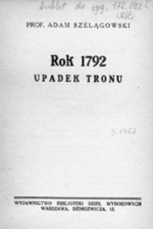 Rok 1792: upadek tronu