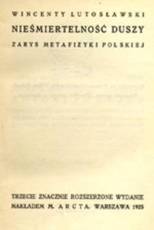 Nieśmiertelność duszy: zarys metafizyki polskiej