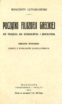 Początki filozofji greckiej: od Thalesa do Demokryta i Sokratesa