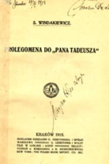 """Prolegomena do """"Pana Tadeusza"""""""