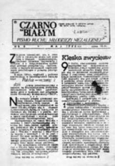 """Czarno na białym: pismo Ruchu Młodzieży Niezależnej """"Świt"""", nr 6 (maj 1986)"""
