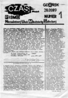 CZAS: pismo Niezależnej Unii Młodzieży Szkolnej, nr 1 (28.09.89)