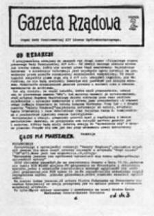 Gazeta Rządowa: Organ Rady Uczniowskiej XIV LIceum Ogólnokształcącego [Warszawa], nr 2