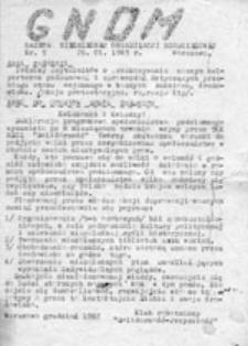 GNOM: Gazeta Niezależnej Organizacji Młodzieżowej, nr 1 (7.11.82)