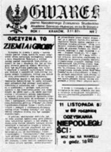 GWAREK: pismo Niezależnego Zrzeszenia Studentów Akademii Górniczo-Hutniczej im. ks. St. Staszica, nr 2 (3.11.87 r.)