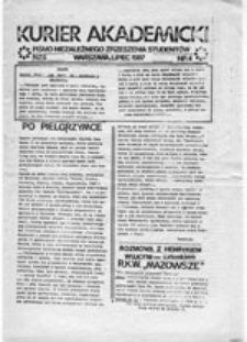Kurier akademicki: pismo Niezależnego Zrzeszenia Studentów, nr 20 (15 I 1898)