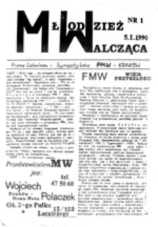 Młodzież Walcząca: pismo Członków i Sympatyków FMW - Kraków, nr 1 (5.I.1990)