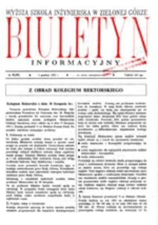 Wyższa Szkoła Inżynierska w Zielonej Górze: Biuletyn Informacyjny Rektoratu, nr 9 (30 października 1991 r.)