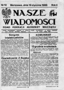Nasze wiadomości: pismo Federacji Młodzieży Walczącej, nr 10 (19 stycznia 1986)