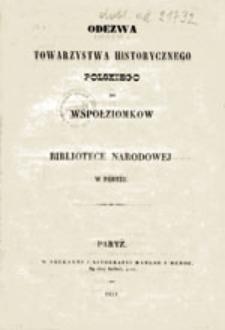 Odezwa Towarzystwa Historycznego Polskiego do współziomków o Bibliotece Narodowej w Paryżu