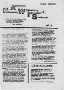 Niezależny Agencyjno-Wydawniczy Informator Studencki (NAWIS), nr 5 (22.05.1988)