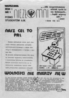 Niezłomni: pismo studentów A.[kademii] M.[edycznej], nr 1 (04 06 1989)