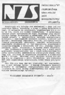 NZS: jednodniówka krakowskiej Rady Koordynacyjnej Niezależnego Zrzeszenia Studentów, październik 87