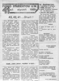 Pismo studentów U[niwersytetu] W[arszawskiego], nr 1 (styczeń 1989)