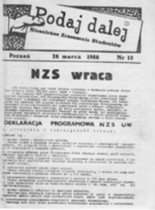 Podaj Dalej: pismo studentów uczelni poznańskich, nr 13 (28 marca 1988)