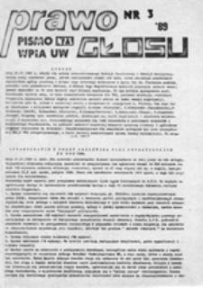 Prawo głosu: pismo NZS WPiA UW, nr 3