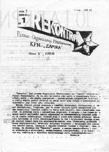 """Rekontra: pismo Organizacji Młodzieżowej KPN """"Zapora"""", nr 1 (1989.10.01)"""