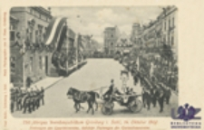 750 jähriges Weinbaujubiläum Grünberg i. Schl., 14. October 1900: Festwagen des Quartettvereins, dahinter Festwagen des Gartenbauvereins