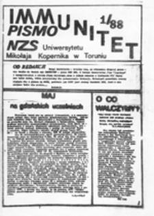 Immunitet : pismo NZS Uniwersytetu Mikołaja Kopernika w Toruniu, nr 2(14)/90 - marzec