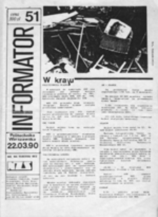 Informator NZS Politechnika Warszawska, nr 42 (24 III 1989)