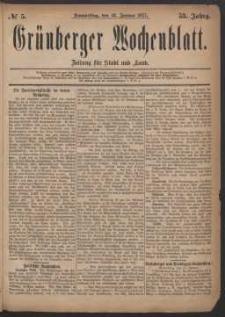 Grünberger Wochenblatt: Zeitung für Stadt und Land, No. 5. (18. Januar 1877)