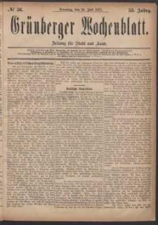 Grünberger Wochenblatt: Zeitung für Stadt und Land, No. 56. (15. Juli 1877)