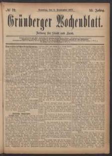 Grünberger Wochenblatt: Zeitung für Stadt und Land, No. 72. (9. September 1877)