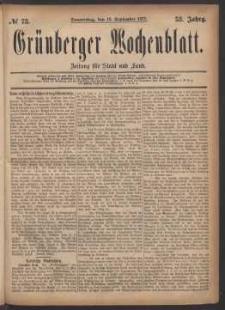 Grünberger Wochenblatt: Zeitung für Stadt und Land, No. 73. (13. September 1877)