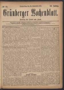 Grünberger Wochenblatt: Zeitung für Stadt und Land, No. 75. (20. September 1877)