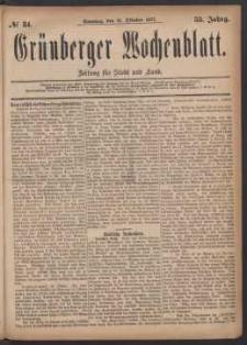 Grünberger Wochenblatt: Zeitung für Stadt und Land, No. 84. (21. Oktober 1877)
