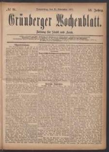 Grünberger Wochenblatt: Zeitung für Stadt und Land, No. 91. (15. November 1877)