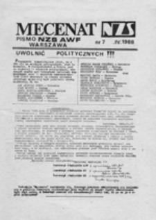 Mecenat: pismo NZS AWF Warszawa, nr 7 (IV 1988)