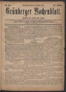 Grünberger Wochenblatt: Zeitung für Stadt und Land, No. 13. (30. Januar 1879)
