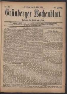 Grünberger Wochenblatt: Zeitung für Stadt und Land, No. 36. (25. März 1879)
