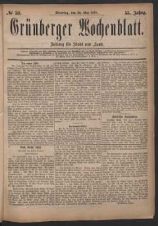 Grünberger Wochenblatt: Zeitung für Stadt und Land, No. 59. (20. Mai 1879)