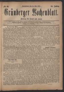 Grünberger Wochenblatt: Zeitung für Stadt und Land, No. 61. (24. Mai 1879)