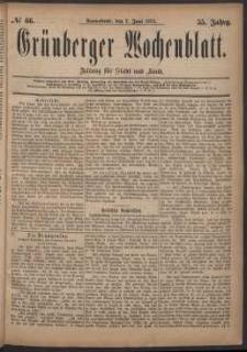 Grünberger Wochenblatt: Zeitung für Stadt und Land, No. 66. (7. Juni 1879)