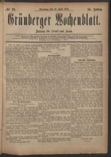 Grünberger Wochenblatt: Zeitung für Stadt und Land, No. 70. (17. Juni 1879)