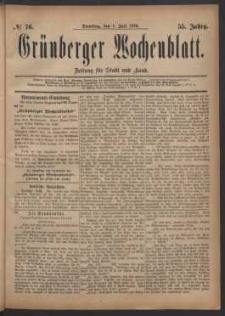 Grünberger Wochenblatt: Zeitung für Stadt und Land, No. 76. (1. Juli 1879)