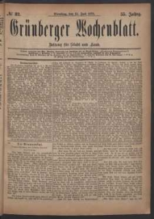 Grünberger Wochenblatt: Zeitung für Stadt und Land, No. 82. (15. Juli 1879)