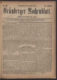 Grünberger Wochenblatt: Zeitung für Stadt und Land, No. 86. (24. Juli 1879)
