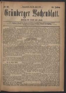 Grünberger Wochenblatt: Zeitung für Stadt und Land, No. 87. (26. Juli 1879)