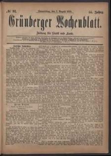 Grünberger Wochenblatt: Zeitung für Stadt und Land, No. 92. (7. August 1879)