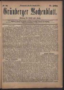 Grünberger Wochenblatt: Zeitung für Stadt und Land, No. 99. (23. August 1879)